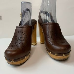 Tory Burch Brown Brayden Leather Clog
